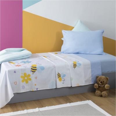Σετ Παιδικά Σεντόνια 160x260cm & Μαξιλαροθήκη 50x70cm, με σχέδιο Μέλισσα ZOUZOUNIA ZOU-BD-017