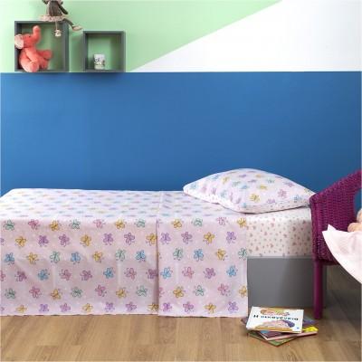 Σετ Παιδικά Σεντόνια 160x260cm & Μαξιλαροθήκη 50x70cm, με σχέδιο Πεταλούδα ZOUZOUNIA ZOU-BD-015