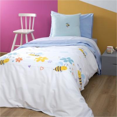 Σετ Παιδική Παπλωματοθήκη 160x240cm & Μαξιλαροθήκη 50x70cm, 100% Βαμβακι, με σχέδιο Μέλισσα ZOUZOUNIA ZOU-BD-031