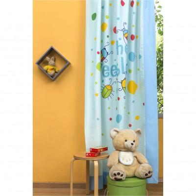 Παιδική Κουρτίνα 150x250cm, με Τρέσσα & Δέστρα Αριστερή, με σχέδιο Μπάμπουρας ZOUZOUNIA ZOU-BD-077