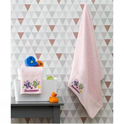 Σετ 2 Πετσέτες Βρεφικές, 100% βαμβάκι, 50x100cm & 70x140cm, με σχέδιο Πεταλούδα, χρώμα Ροζ ZOUZOUNIA ZOU-BD-389