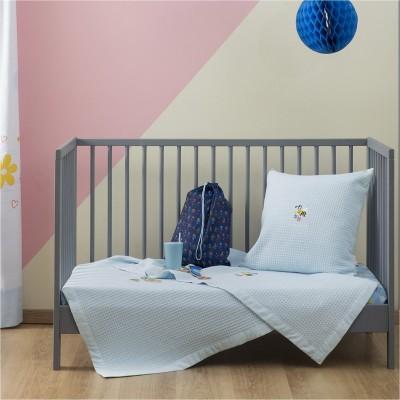 Κουβέρτα Βρεφική, 100% βαμβάκι, 110x140cm, με σχέδιο Μέλισσα, χρώμα Σιέλ ZOUZOUNIA ZOU-BD-256