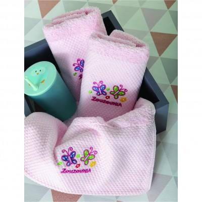 Σετ 3 Πετσέτες Βρεφικές, 100% βαμβάκι, 30x50cm, με σχέδιο Πεταλούδα, χρώμα Ροζ ZOUZOUNIA ZOU-BD-353