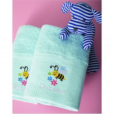 Σετ 2 Πετσέτες Βρεφικές, 100% βαμβάκι, 50x100cm, με σχέδιο Μέλισσα, χρώμα Σιέλ ZOUZOUNIA ZOU-BD-240