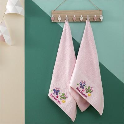 Σετ 2 Πετσέτες Βρεφικές, 100% βαμβάκι, 50x100cm, με σχέδιο Πεταλούδα, χρώμα Ροζ ZOUZOUNIA ZOU-BD-365