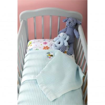 Κουβέρτα Βρεφική, 100% βαμβάκι, 80x110cm, με σχέδιο Μέλισσα, χρώμα Σιέλ ZOUZOUNIA 31940