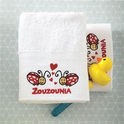Σετ 2 Πετσέτες Βρεφικές, 100% βαμβάκι, 50x100cm, με σχέδιο Πασχαλίτσα, χρώμα Λευκό ZOUZOUNIA ZOU-BD-359