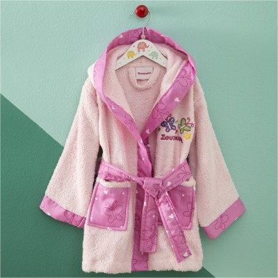 Μπουρνούζι Βρεφικό για 12-24 Μηνών, με σχέδιο Πεταλούδα, χρώμα Ροζ ZOUZOUNIA 32148