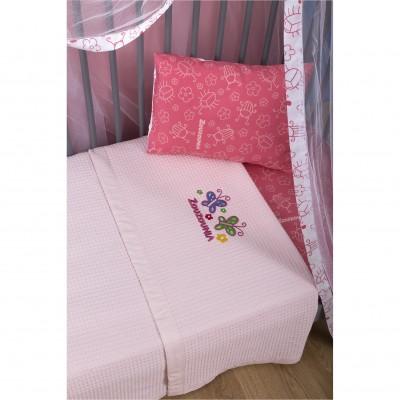 Κουβέρτα Βρεφική, 100% βαμβάκι, 110x140cm, με σχέδιο Πεταλούδα, χρώμα Ροζ ZOUZOUNIA 32363