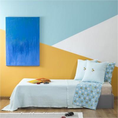 Κουβέρτα Παιδική, 100% βαμβάκι, 160x240cm, με σχέδιο Μέλισσα, χρώμα Σιέλ ZOUZOUNIA 31948