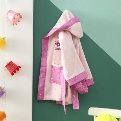 Μπουρνούζι Βρεφικό για 0-12 Μηνών, με σχέδιο Πεταλούδα, χρώμα Ροζ ZOUZOUNIA ZOU-BD-277