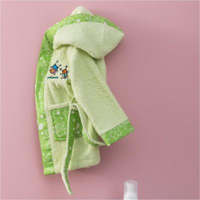 Μπουρνούζι Βρεφικό για 0-12 Μηνών, με σχέδιο Μπάμπουρας, χρώμα Πράσινο ZOUZOUNIA ZOU-BD-274