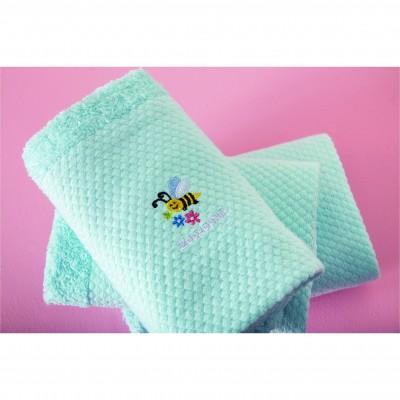 Σετ 3 Πετσέτες Βρεφικές, 100% βαμβάκι, 30x50cm, με σχέδιο Μέλισσα, χρώμα Σιέλ ZOUZOUNIA ZOU-BD-236