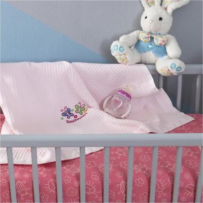Κουβέρτα Βρεφική, 100% βαμβάκι, 80x110cmm, με σχέδιο Πεταλούδα, χρώμα Ροζ ZOUZOUNIA ZOU-BD-401