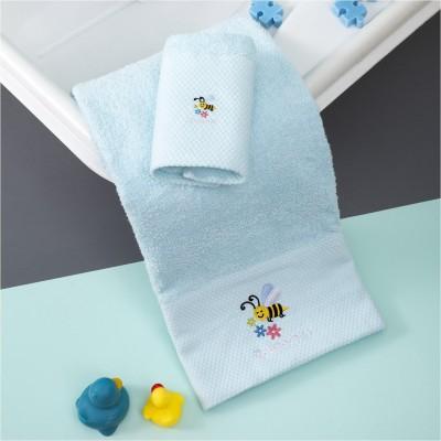 Σετ 2 Πετσέτες Βρεφικές, 100% βαμβάκι, 30x50cm & 70x140cm, με σχέδιο Μέλισσα, χρώμα Σιέλ ZOUZOUNIA ZOU-BD-244