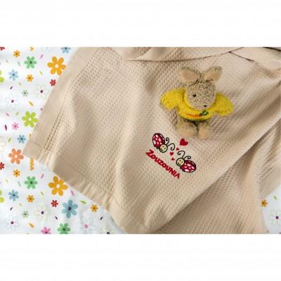 Κουβέρτα Βρεφική, 100% βαμβάκι, 80x110cmm, με σχέδιο Πασχαλίτσα, χρώμα Μπεζ ZOUZOUNIA ZOU-BD-395