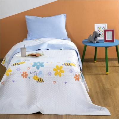 Παιδικό Κουβερλί Βαμβακερό, 160x240cm, με σχέδιο Μέλισσα ZOUZOUNIA ZOU-BD-173