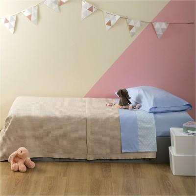 Κουβέρτα Παιδική, 100% βαμβάκι, 160x240cm, με σχέδιο Πασχαλίτσα, χρώμα Μπεζ ZOUZOUNIA 32369