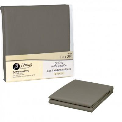 Σετ 2 μαξιλαροθήκες 50x70+5cm, 100% βαμβακερό, 300 κλωστές, (60°C), χακί FENNEL P2-300L-CH