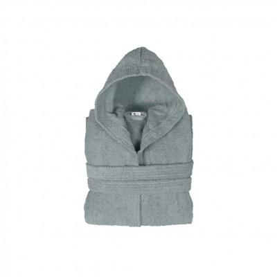 Μπουρνούζι με κουκούλα, παιδικό 6-8, Γκρι, Σειρά Comfort, 420gr/m², Πενιέ,  FENNEL BRHC-Y6-8-GR