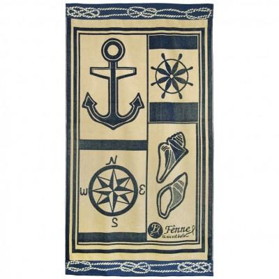 Πετσέτα θαλάσσης, 90x165cm (630gr), Ζακάρ, 100% Βαμβάκι Αιγύπτου, Πάνω πλευρά Βελουτέ,  FENNEL 27268