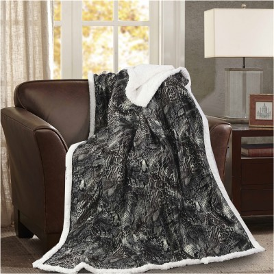 Κουβέρτα καναπέ με γούνα, 190gsm Ming+200gsm sherpa, 130x170cm, fennel FENNEL 28190