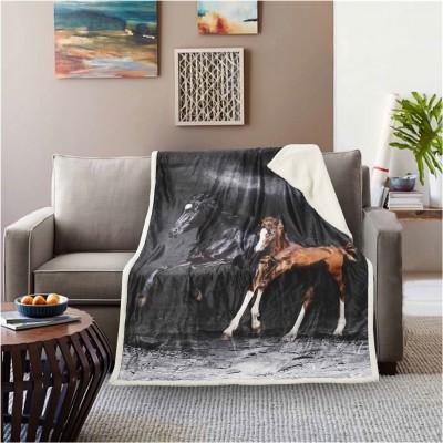 Κουβέρτα καναπέ με γούνα, 190gsm Ming+200gsm sherpa, 130x170cm, fennel FENNEL 28191