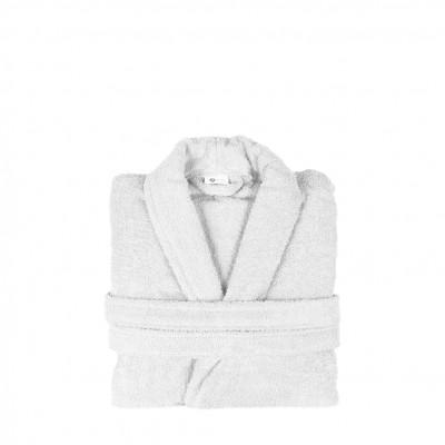 Μπουρνούζι με γιακά, Medium, Λευκό, Σειρά Comfort, 420gr/m², Πενιέ,  FENNEL BRCC-M-WH