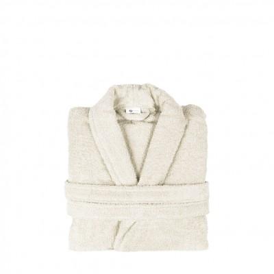Μπουρνούζι με γιακά, Medium, εκρου, Σειρά Comfort, 420gr/m², Πενιέ,  FENNEL BRCC-M-EC