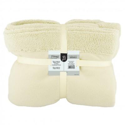Κουβέρτα διπλή, 150gsm fleece με 10cm sherpa+210gsm sherpa, 220x240cm, μπεζ, fennel FENNEL BFS360-220240-BG