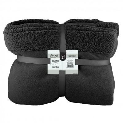 Κουβέρτα διπλή, 150gsm fleece με 10cm sherpa+210gsm sherpa, 220x240cm, μαύρη, fennel FENNEL 27489