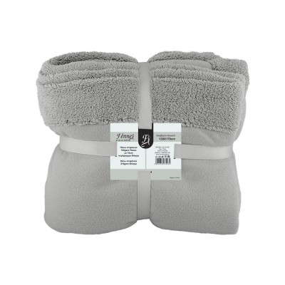 Κουβέρτα καναπέ, 150gsm fleece με 10cm sherpa+210gsm sherpa, 130x170cm, γκρι, fennel FENNEL 27493
