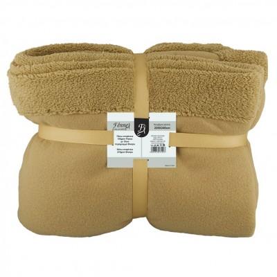Κουβέρτα διπλή, 150gsm fleece με 10cm sherpa+210gsm sherpa, 220x240cm, καφέ, fennel FENNEL BFS360-220240-BR