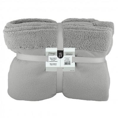 Κουβέρτα διπλή, 150gsm fleece με 10cm sherpa+210gsm sherpa, 220x240cm, γκρι, fennel FENNEL 27495