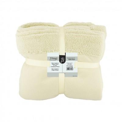 Κουβέρτα καναπέ, 150gsm fleece με 10cm sherpa+210gsm sherpa, 130x170cm, μπεζ, fennel FENNEL BFS360-130170-BG