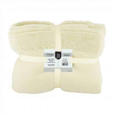 Κουβέρτα μονή, 150gsm fleece με 10cm sherpa+210gsm sherpa, 160x220cm, μπεζ, fennel FENNEL 27497