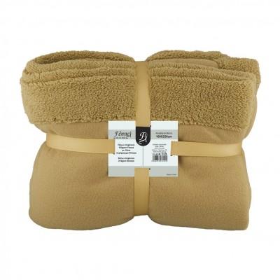 Κουβέρτα μονή, 150gsm fleece με 10cm sherpa+210gsm sherpa, 160x220cm, καφέ, fennel FENNEL 27491