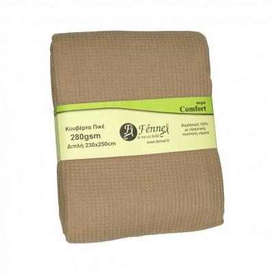 Κουβέρτα πικέ διπλή, 230x250cm, μπεζ (taupe), 280gr/m², Πολύ απαλή FENNEL 27191