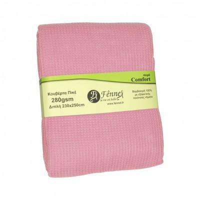 Κουβέρτα πικέ διπλή, 230x250cm, λιλά, 280gr/m², Πολύ απαλή FENNEL 27193