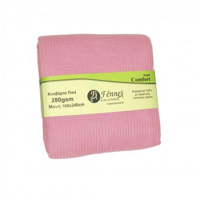 Κουβέρτα πικέ μονή, 160x240cm, λιλά, 280gr/m², Πολύ απαλή FENNEL 27192