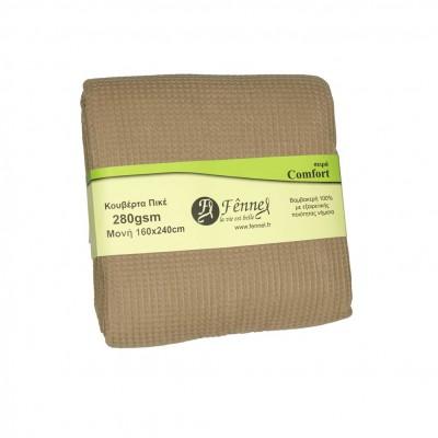 Κουβέρτα πικέ μονή, 160x240cm, μπεζ (taupe), 280gr/m², Πολύ απαλή FENNEL 27190