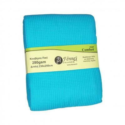 Κουβέρτα πικέ διπλή, 230x250cm, τιρκουάζ, 280gr/m², Πολύ απαλή FENNEL 27197