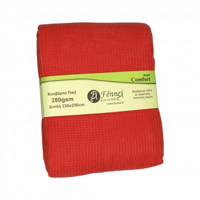 Κουβέρτα πικέ διπλή, 230x250cm, κόκκινη, 280gr/m², Πολύ απαλή FENNEL 27189