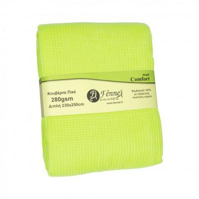 Κουβέρτα πικέ διπλή, 230x250cm, μέντα, 280gr/m², Πολύ απαλή FENNEL 27195