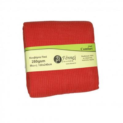 Κουβέρτα πικέ μονή, 160x240cm, κόκκινη, 280gr/m², Πολύ απαλή FENNEL 27188