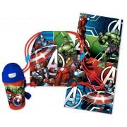Πετσέτα θαλάσσης με τσάντα και παγούρι Avengers Disney