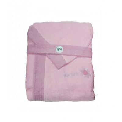 Μπουρνούζι παιδικό βαμβακερό Ροζ