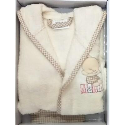 Μπουρνούζι βρεφικό/παιδικό εκρού σε κουτί B258