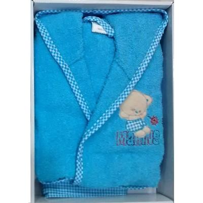Μπουρνούζι βρεφικό/παιδικό γαλάζιο σε κουτί B259