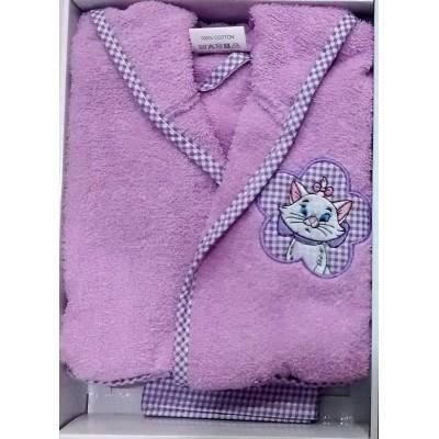 Μπουρνούζι βρεφικό/παιδικό μωβ σε κουτί B260